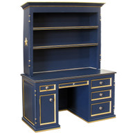 Evan Computer Desk and Hutch: Navy with Gold Gilding