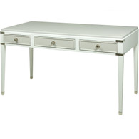 Gramercy Console Desk Body Finish: Snow Upgraded Second Color on Drawer and Top Finish: Dior Gray Chest Straps: Polish Nickel Toe Caps: Polish Nickel Knobs: Upgraded Polish Nickel #1
