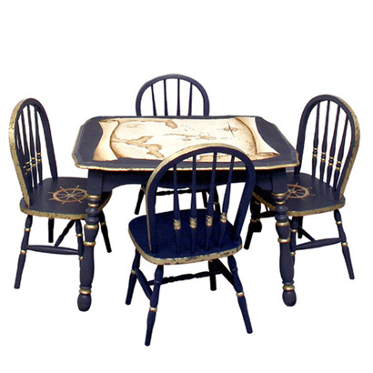 Vintage Play Table and Chair Set: Nautical Antique Map - Antique Nautical Map Play Table And Chairs Set - AFK Furniture