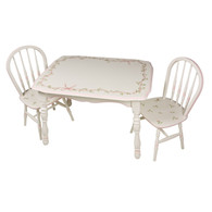 Vintage Play Table and Chair Set: Ribbions and Roses
