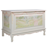French Toy Chest Finish: Antico White Hand Painted Motif: Masquerade