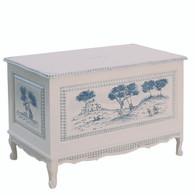 French Toy Chest Finish: Antico White / Blue Hand Painted Motif: Country Toile