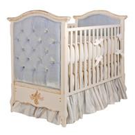 French Panel Upholstered Crib: Empress Blue