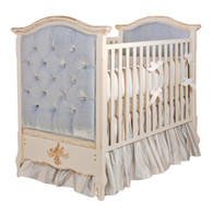 Bordeaux Crib Finish: Versailles Creme Fabric: AFK Empress Blue Tufting Option: Button Tufting Appliquéd Moulding Option: Cherub in Versailles Creme