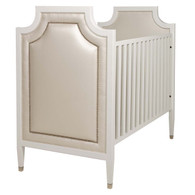 Gramercy Crib Finish: Antico White Fabric: Custom - Customer Own Material Nail Heads: Polished Nickel Toe Caps: Polished Nickel