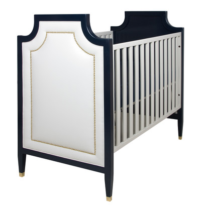 Gramercy Crib Finish: Navy And Snow Fabric: AFK Angel Nail Heads: Polished  Brass