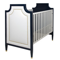 Gramercy Crib Finish: Navy and Snow Fabric: AFK Angel Nail Heads: Polished Brass Toe Caps: Polished Brass