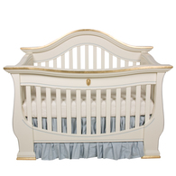 London Crib Finish: Linen Trim Out: Gold Gilding and Blue Appliquéd Moulding Option: Lion Head in Gold Gilding