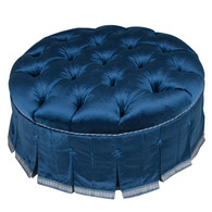 Mayfair Round Ottoman: Blue C.O.M. / Custom Trim