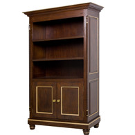 Evan Bookcase Finish: Antique French Walnut Trim Out: Gold Gilding Door Option: Caning Knobs: Wood Knobs in Antique French Walnut Finish