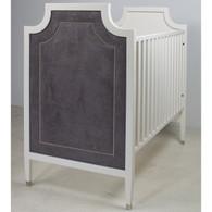 Gramercy Crib Finish: Antico White Fabric: AFK Arizona Charcoal Nail Heads: Polished Nickel Toe Caps: Polished Nickel