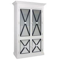 Regency Armoire Finish: Antico White Trim Out: Navy Knobs: Wood finished in Antico White