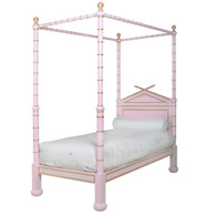 BAMBOO FOUR POSTER BED: Custom Pink / Gold Gilding