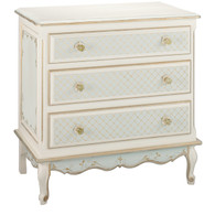 French Chest Finish: Linen / Reef / Gold Hand Painted Motif: Elysee Knobs: Glass Knobs with Gold Base