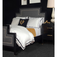 Tribeca Bed Bed Size: Queen Finish: Black Fabric: AFK Carlisle Nail Heads: Polished Nickel Toe Caps: Polished Nickel