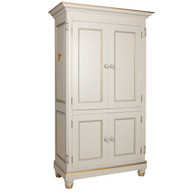 Evan Armoire Finish: Linen Trim Out: Gold Gilding and Dauphin Blue Optional Appliqued Moulding: Star Moulding in Gold Gilding Knobs: Wood in Gold Gilding and Custom Dauphin Blue