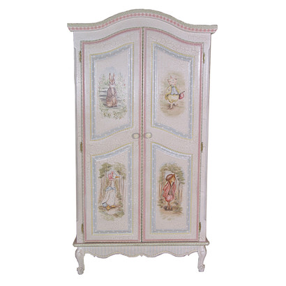 Merveilleux French Armoire Finish: Antico White On Gray Crackle Hand Painted Motif:  Enchanted Forest Knobs