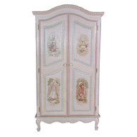 French Armoire Finish: Antico White on Gray Crackle Hand Painted Motif: Enchanted Forest Knobs: Wood