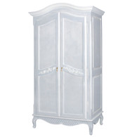 Grand Armoire Finish: Washed Powder Blue with White Trim Door Option: Caning Appliqued Moulding Option: AFK Standard Moulding Upgraded Knobs: Tassel # 1