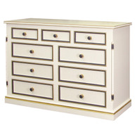 Evan Nine Drawer Dresser Finish: Antico White Trim Out: Navy and Gold Gilding Caning on Drawer Fronts Knobs: Wood