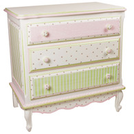 French Chest Finish: Antico White Hand Painted Motif: Serendipity Knobs: Wood Knobs