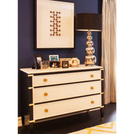 Gramercy Wide Chest Body Finish: Black Upgraded Second Color on Drawers and Top: Linen Chest Straps: Polish Brass Toe Caps: Polish Brass Knobs: Standard Knobs Brass Knob #6