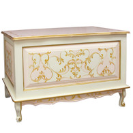 French Toy Chest Finish: Linen / Pink / Gold Hand Painted Motif: Verona
