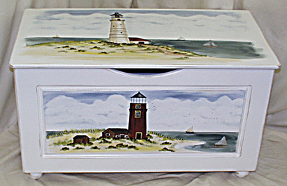 Toy Chest Finish: Antico White Hand Painted Motif: Custom Light House