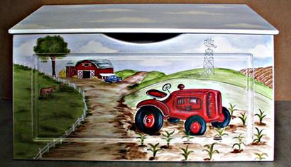 Toy Chest Finish: Antico White Hand Painted Motif: Custom Farm