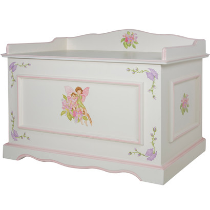 Vintage Toy Chest Finish: Antico White / Pink Hand Painted Motif: Flower Fairies