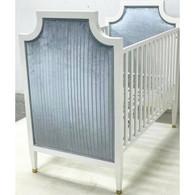 Gramercy Glam Crib Finish: Whisper Fabric: AFK Jaclyn Mist Toe Caps: Polished Brass