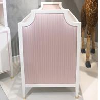 Gramercy Glam Crib Finish: Snow Fabric: AFK Powder Pink Toe Caps: Polished Brass