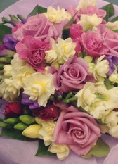 Seasonal Bouquet based on our best seller 'Lambton'. Pinks Creams and light purples.