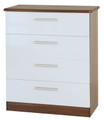 Welcome Furniture - Knightsbridge Gloss - 4 drawer chest - Choice of Vibrant Gloss & Calm Natural Colours