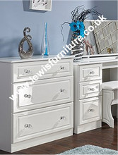 Welcome Furniture - Balmoral White Gloss - 3 Drawer Deep Chest
