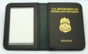 Transportation Security Administration Officer Mini Badge ID Wallet w/Dept. of Homeland Security and Officer Embossing