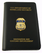 Immigration and Customs Enforcement Special Agent Leather Credential Case with Mini Badge and Embossing