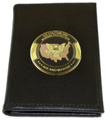 Office of Air and Marine Leather Badge and Credential Case with OAM Logo Medallion