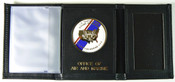 Office of Air and Marine Tri-Fold Leather Wallet Gold Embossing and Flag Medallion