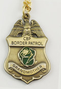 "U.S. Border Patrol Agent's ""Grandmother"" Mini Badge and Rose Necklace - Antique Gold"