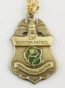 "U.S. Border Patrol Agent's ""Granddaughter"" Mini Badge and Rose Necklace - Antique Gold"