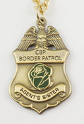 "U.S. Border Patrol Agent's ""Sister"" Mini Badge and Rose Necklace - Antique Gold"