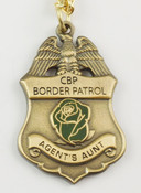"U.S. Border Patrol Agent's ""Aunt"" Mini Badge and Rose Necklace - Antique Gold"