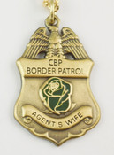 "U.S. Border Patrol Agent's ""Wife"" Mini Badge and Rose Necklace - Antique Gold"