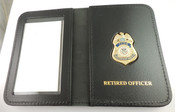 """TSA Federal Flight Deck Officer Mini Badge Leather ID Wallet with """"Retired Officer"""" Embossing"""