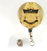 Gold U.S. Border Patrol Mini Badge Retractable ID Reel