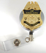 "Chrome U.S. Border Patrol Agent 1.5"" Mini Badge Retractable ID Reel"