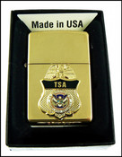 Transportation Security Administration Chrome Cigarette Lighter with TSA Mini Badge