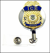 Chrome Immigration and Customs Enforcement Agent Mini Badge ID Holder