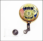 ICE Mini Badge and Flag ID Holder in Gold